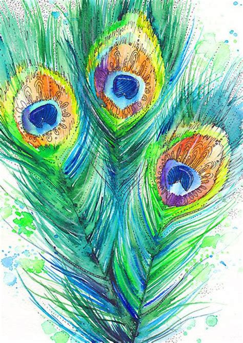 peacock feather watercolor painting print 8 quot x 12 quot green yellow blue bright green celadon