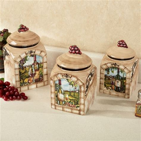 Brown Canister Sets Kitchen by Tuscan View Wine Grapes Kitchen Canister Set