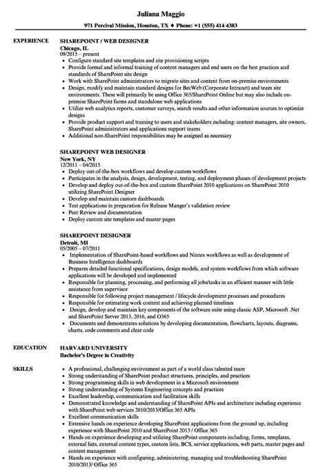 Developer Resume Exles by Sharepoint Developer Resume Exles 28 Images Sharepoint