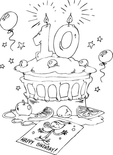 birthday coloring pages for 10 year olds birthday cake age 10 coloring page coloring com