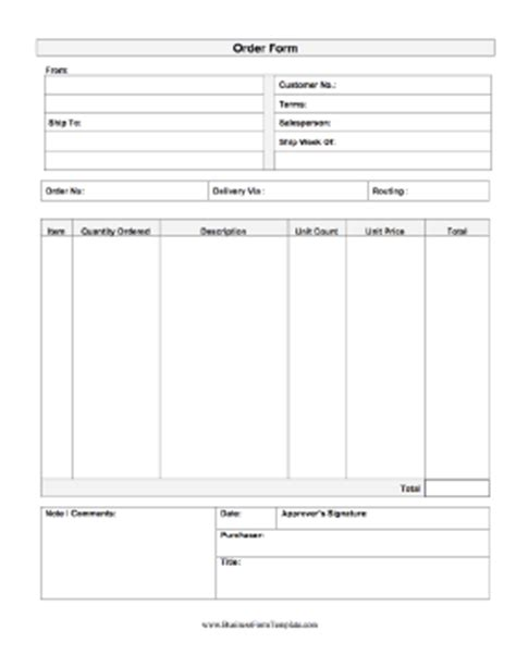 Order Form Template Printable Order Form Template