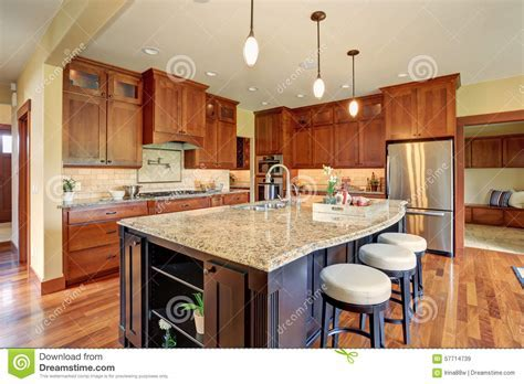 Luxury Kitchen With Bar Style Island. Stock Image   Image