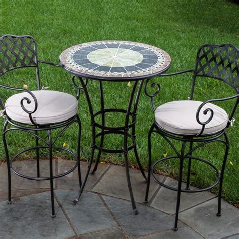 Alfresco Home Ponte Mosaic Bar Bistro Set Modern Outdoor Bistro Sets Outdoor Patio Furniture