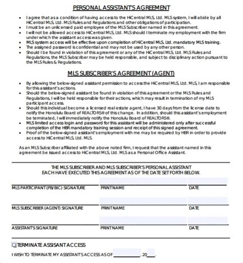 assistant agreement template sle confidentiality agreement template 8 free