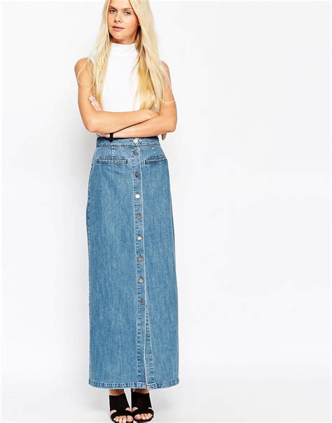asos asos denim maxi skirt with button front in mid wash