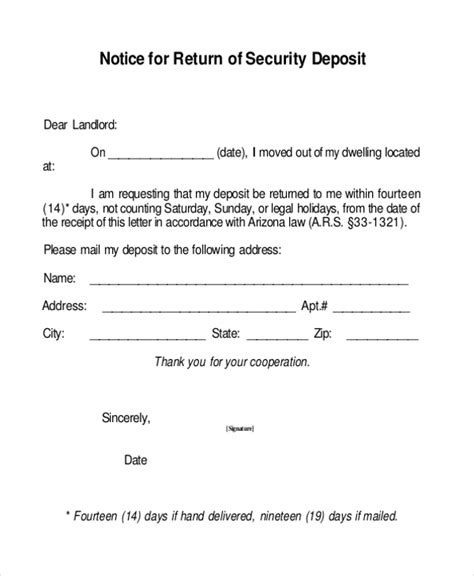 Customer Deposit Letter Sle Security Deposit Receipt Form 8 Free Documents In Word Pdf