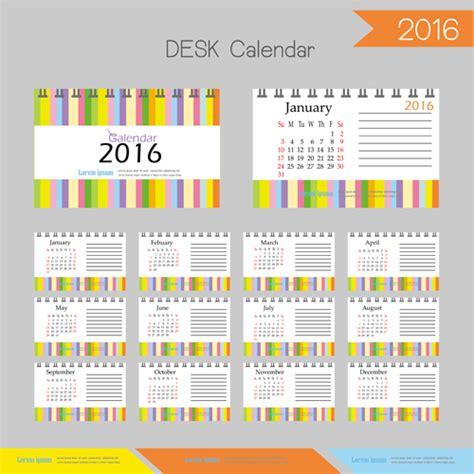 2016 desk calendar template vectors set 14 vector