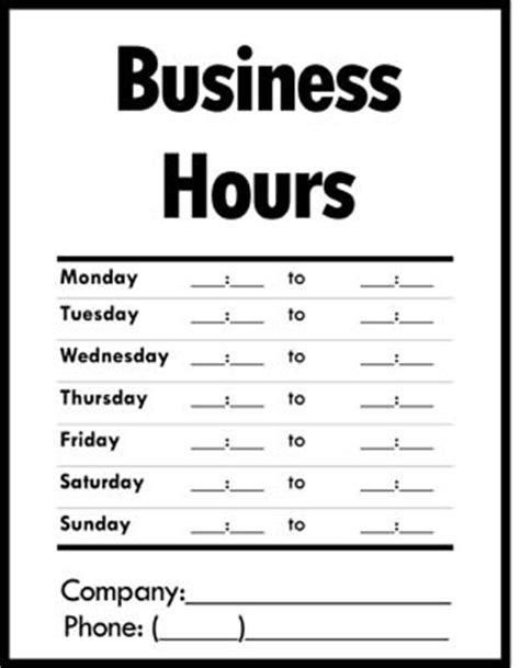 hours sign template free business hours of operation sign small business free forms