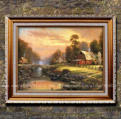 kinkade canvas print painting sunset at
