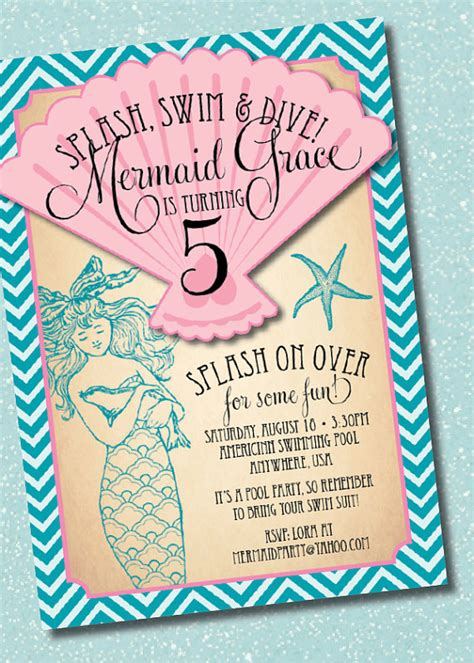 14 Awesome Little Mermaid Birthday Party Ideas Birthday Inspire Mermaid Birthday Invitation Templates