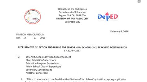 Sle Letter Of Intent In Deped Deped San Pablo City Recruitment Selection And Hiring For Senior High School Teaching