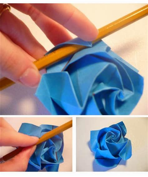 membuat origami pot bunga cara membuat origami bunga mawar biru tutorial kerajinan