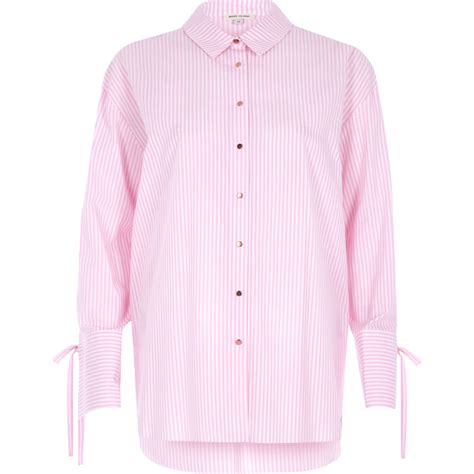 Striped Oversized Shirt pink stripe tie cuff oversized shirt shirts tops