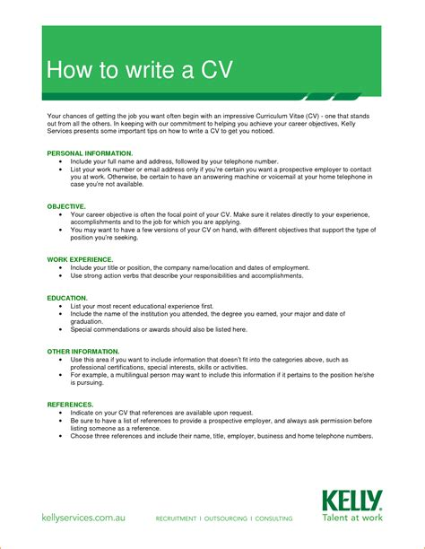 how to write a template 13 how to write a cv for a application basic