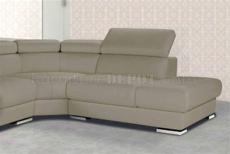 Taupe Leather Sectional by Pacifico Sectional Sofa In Taupe Leather By Esf