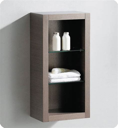 Bathroom Linen Shelves Fresca Fst8130go Gray Oak Bathroom Linen Side Cabinet With 2 Glass Shelves