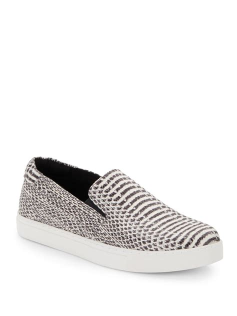 snake print slip on sneakers kenneth cole kit snake print slip on sneakers in black lyst