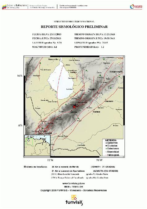 imagenes temblor en merida venezuela hoy funvisis registr 243 un temblor en m 233 rida de magnitud 4 1 en