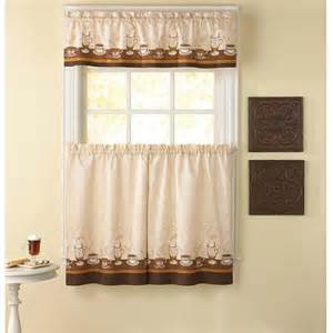 Kitchen Curtains Pictures Chf You Cafe Au Lait Kitchen Curtains Set Of 2 Walmart