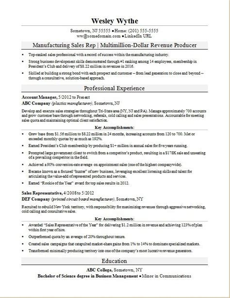manufacturing sales rep resume sle monster com