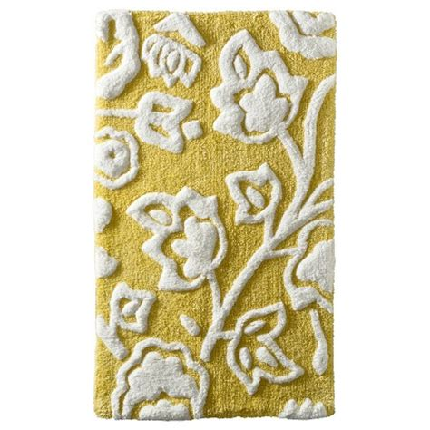 Yellow And Gray Bathroom Rug Floral Bath Rug Yellow Threshold Target