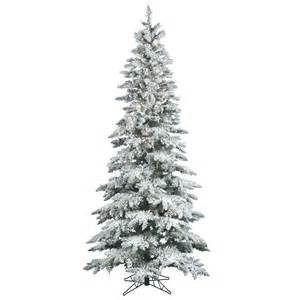 9 foot slim flocked utica fir christmas tree all lit