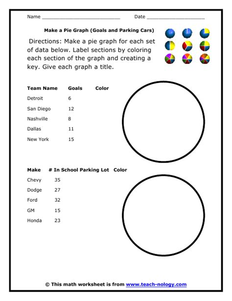 Pie Chart Worksheets by Make A Pie Graph Goals And Parking Cars