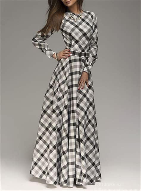 black and white clothing pattern women s long sleeve maxi dress diagonal plaid pattern