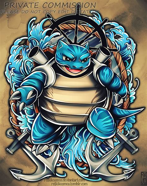 blastoise tattoo commission by retkikosmos on deviantart