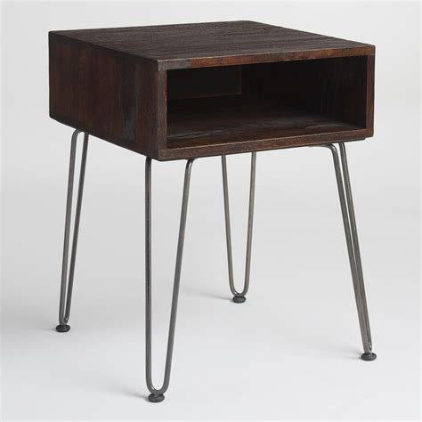 rustic wood accent tables rustic brown wood and metal cubby accent table world market