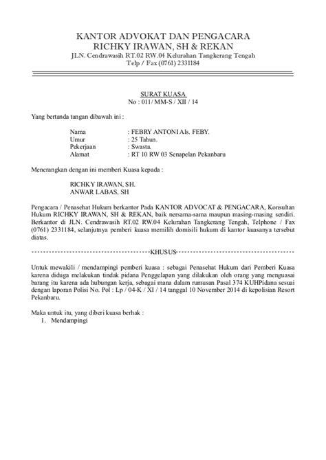 format surat kuasa advokat surat kuasa richky irawan