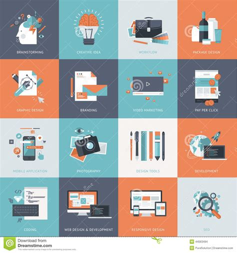 application design concepts set of flat design concept icons for website and app