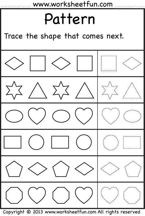 pattern and shape worksheets patterns trace the shape that comes next one worksheet