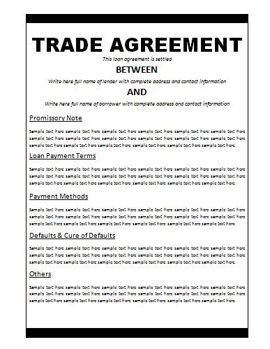 barter agreement template agreement templates free word s templates