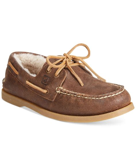boat shoes in winter lyst sperry top sider winter boat shoes in brown for men