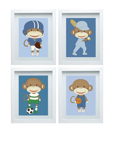 Football Nursery Decor Monkey Nursery Decor Sports Decor Basketball Baseball Football