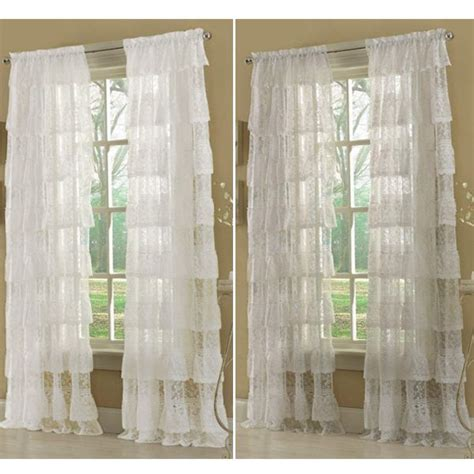 Ruffled Priscilla Curtains 63 Quot White Priscilla Layered Ruffled Lace Curtain Panel