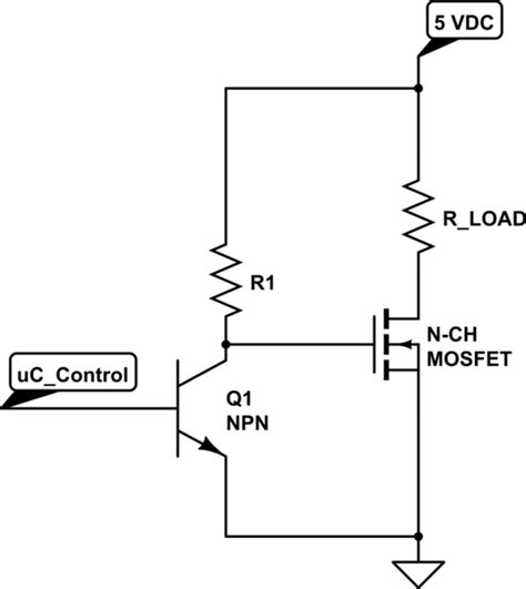 transistor mosfet switch transistors normally on switch using n ch mosfet and pull up resistor electrical engineering