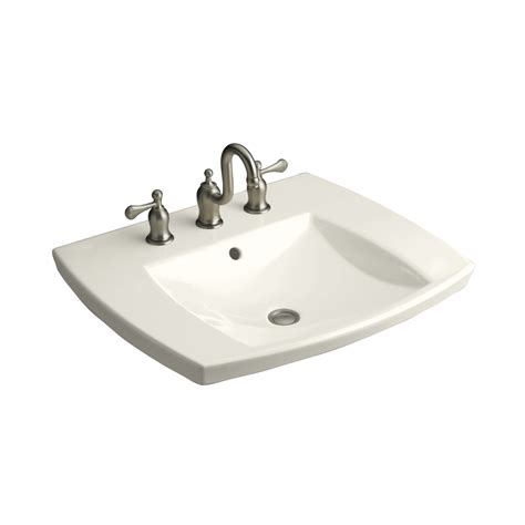 rectangular drop in bathroom sink shop kohler kelston biscuit drop in rectangular bathroom