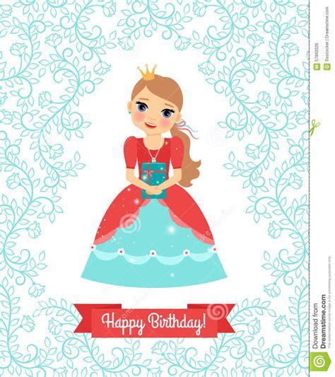 happy birthday princess card template princess happy birthday card stock vector image