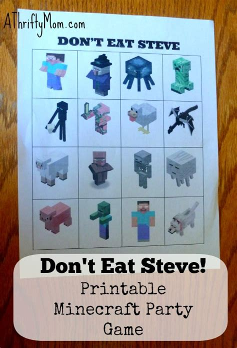 printable minecraft quiz dont eat steve minecraft party games minecraft party