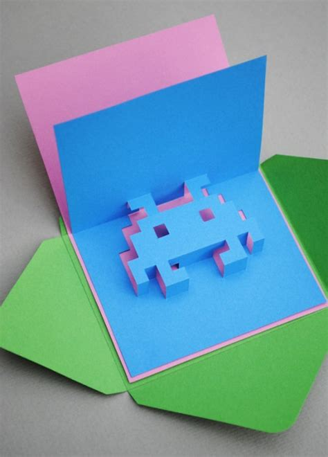 diy space invader pop up card