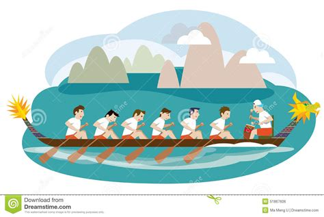 cartoon boat race dragon boat racing illustration stock vector image 51867606