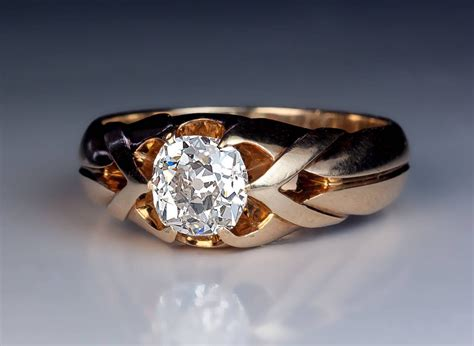1960s Furniture by Antique 1 Carat Diamond Gold Men S Ring At 1stdibs