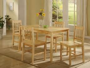 Details about natural solid pine wood kitchen table and 4 chairs