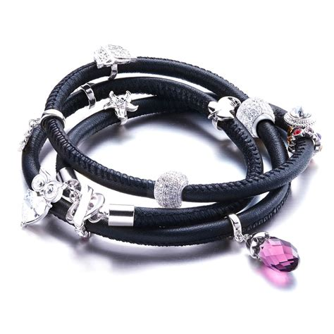 Swarovski Leather charms and crystals swarovski elements black leather