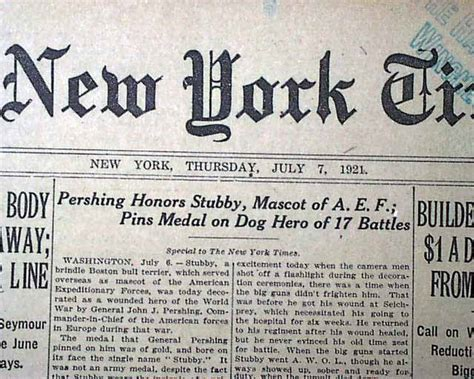 Sergeant Stubby Newspaper Sergeant Stubby World War I Decorated J Pershing 1921 Newspaper Ebay