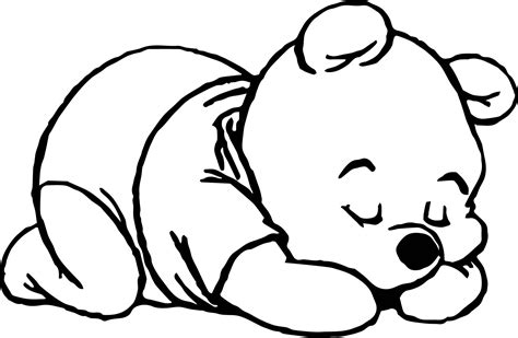 sleeping coloring page sleep baby pooh coloring page wecoloringpage