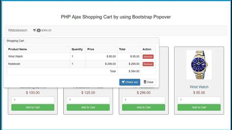 Ajax Shopping Cart In Php Using Bootstrap Popover Youtube Shopping Cart Template Free In Php