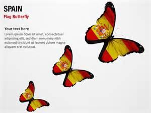spain flag butterfly powerpoint map slides spain flag